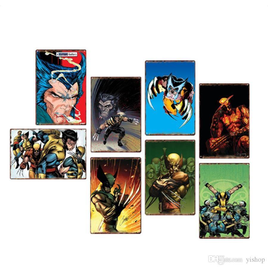 20 * 30 cm Marvel Super hero Wolverine Sinais De Lata De Metal Do Vintage Cartaz Placa De Metal Clube Parede Arte Da casa de Metal Pintura Decoração Da Parede Da Arte Pictures