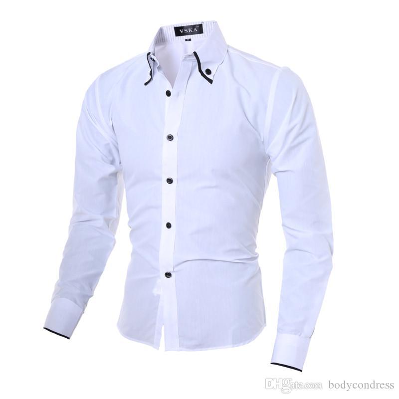 Bahar Katı Renk Erkek Tasarımcı Gömlek düğmeleri Aşağı Yaka Uzun Kollu Erkek Casual Erkek Giyim Tops çevirin