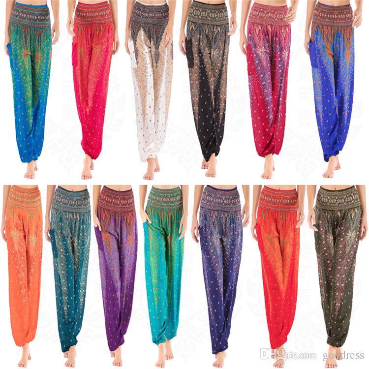 Frauen Yoga Laterne Hosen Thailand Ethnischen Stil Hohe Taille Breites bein Lose Sport lange Hosen Feder Gedruckt Übung Elastische Weibliche Hosen