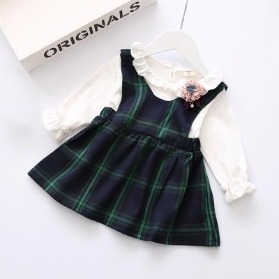 2020 Enfants Designer Girls Dress Marque Faux Deux Princesse Robes enfants de luxe Plaid Robe New style doux Mode chaud vente