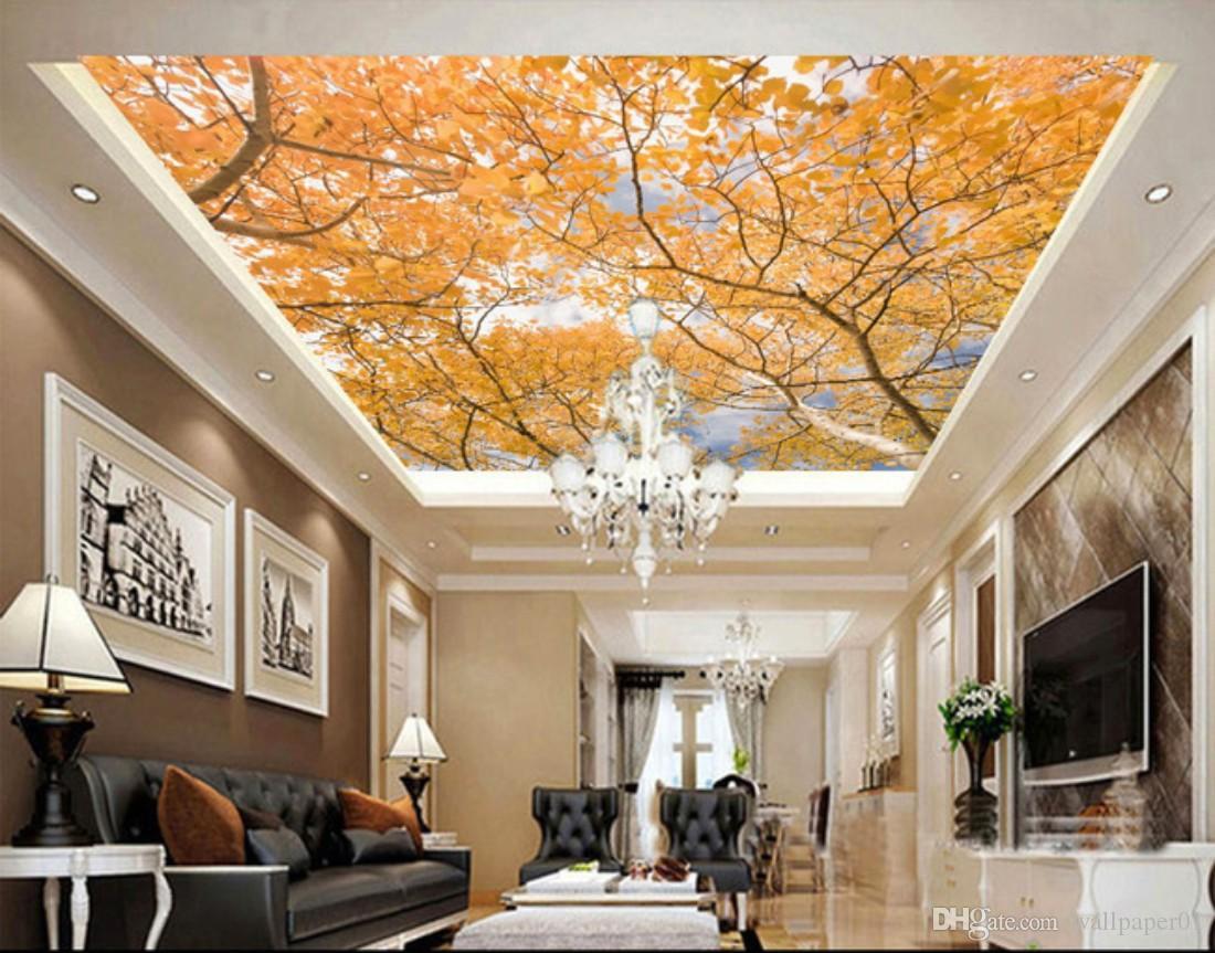 Taille sur mesure Toute feuilles de la forêt 3D Stereo Automne Plafond Papiers peints Papier peint mur Salon Papiers Décoration d'intérieur moderne Peinture murale