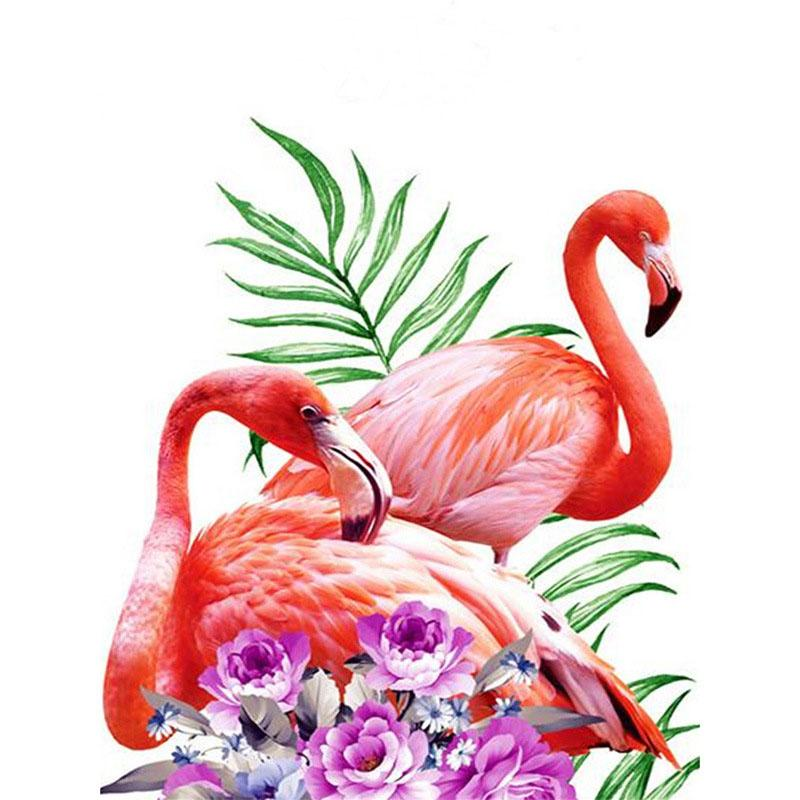 Two Flamingos 5D DIY Mosaic Diamond Painting Cross Embroidery Set Diamond Embroidery Block Diamond Home Decoration Wall Art