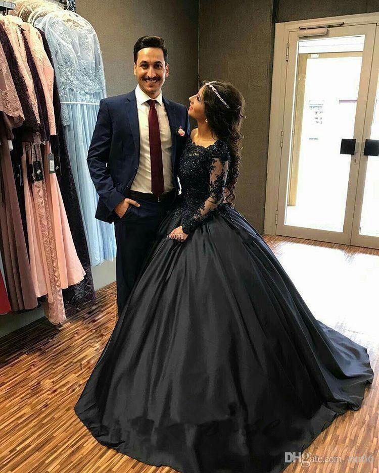 Discount 2019 Vintage Ball Gown Black Wedding Dresses Satin Long Sleeve Beading Lace Bridal Gowns Wedding Gown Vestido De Novia Gorgeous Wedding
