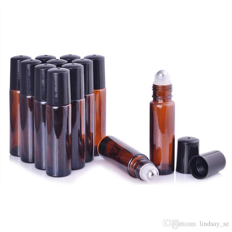 Amber cam şişeler üzerinde 10 ml boş rulo [Paslanmaz çelik rulo] Temel Yağ için Doldurulabilir Amber Rulo