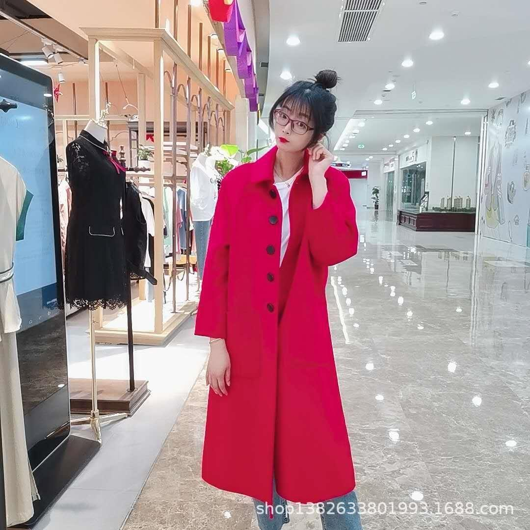 dkqX2 AcOoF out-of-season out-of-season lady temperament Korean style Quality straight tube women's cashmere woolen woolwool lapel Quality la