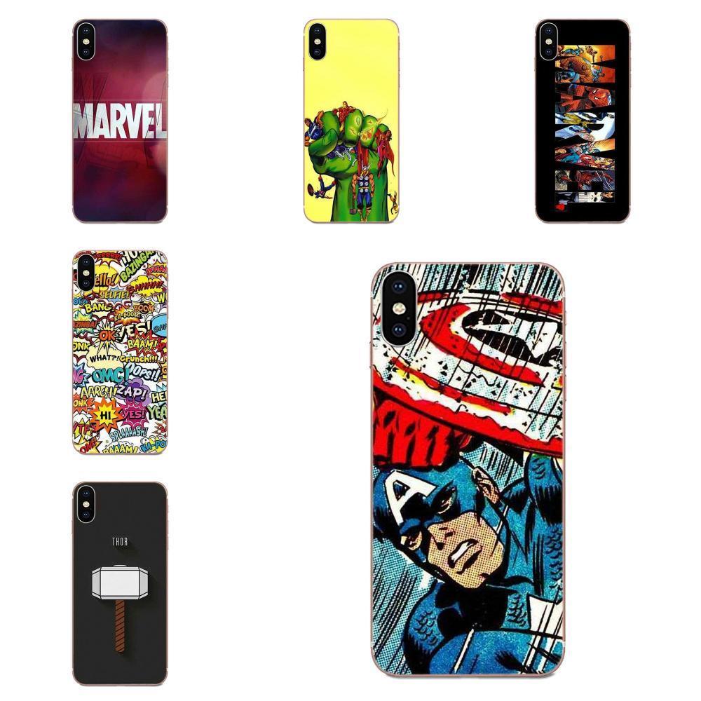 Personalizado macio Móvel de luxo Logo Marvel Comics Para Galaxy Grande A3 A5 A7 A8 A9 A9s On5 On7 Pro Plus Estrela 2015 2016 2017 2018