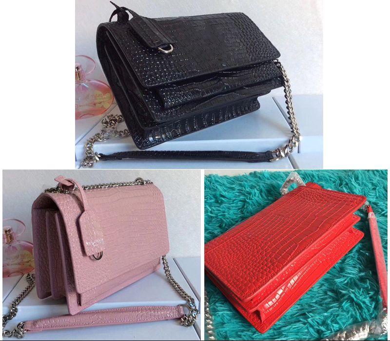 Krokodilmuster Umhängetaschen Handtaschen Leder Schulterbeutel-Frauenbeutel Geldbörse kommen mit Kasten
