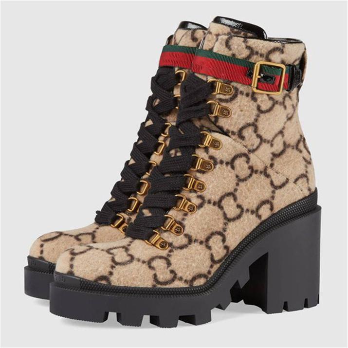 Laine Bottines beige / ébène femmes Bottes bottillons à talons lacées Oeillets Chaussures Femmes Chaussures De Lady Luxe W2 Bottes