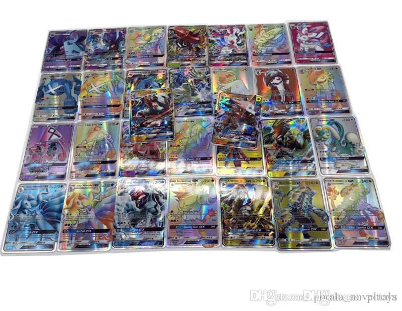 1Lot Anime Trading Cards 120pcs/lot 120GX+Trainer Games EX Mega Cards Cartoon English Party Card for Children Adults Poker shine boxes Xmas