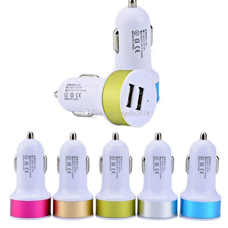 Renkli Mini USB Araç Şarj 5V 2.1A + 1A Taşınabilir Şarj Adaptörü Soket 2 Portları USB Şarj için Samsung Huawei 11 pro