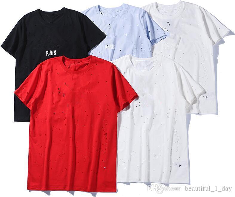 2019 nuevo agujero de manga corta moda manga corta de alta calidad camiseta de los hombres LOGO agujero camiseta de las señoras camiseta