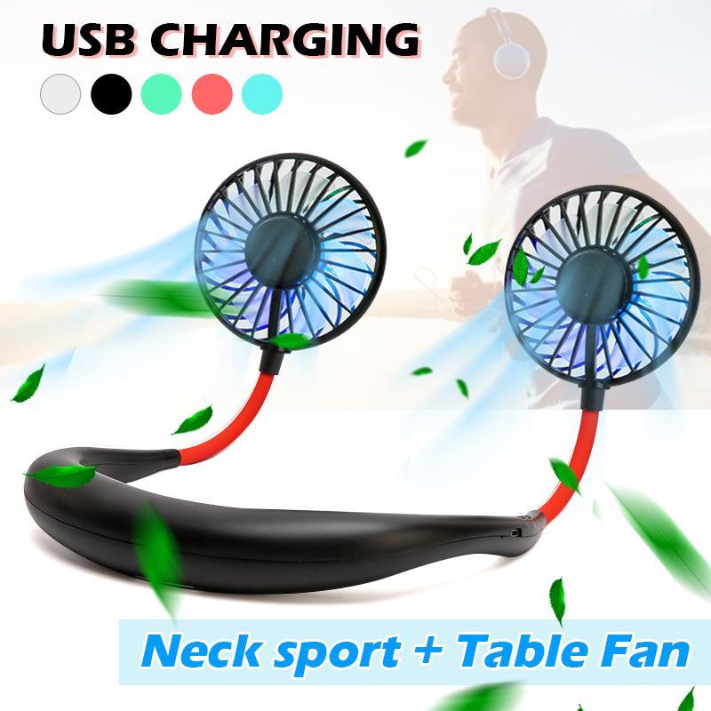 2020 New 4th Generation Mini USB Portable Fan Hanging Neck Sports Double Head Aromatherapy Silent Fan Outdoor Sports Handheld Desktop Fan