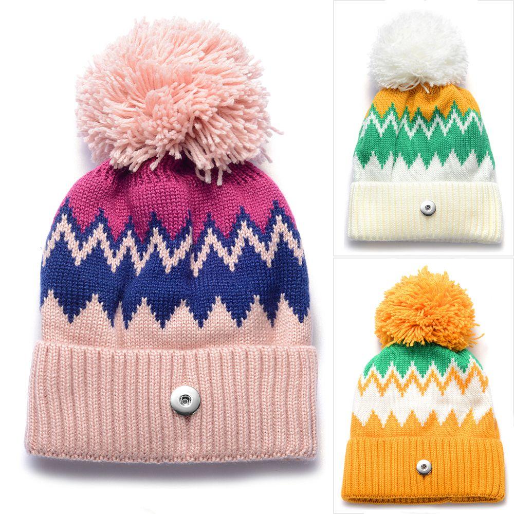 Ginger snap Hat ajuste 18 milímetros Botão Beanie Inverno Kniting Chapéu Com Pom Pom Unisex Homens Womens Skullies Gorros Acessórios NN-702 MX191116