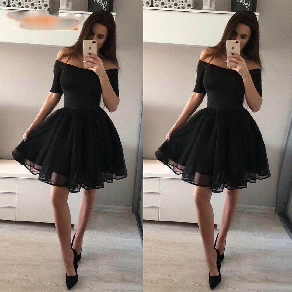 Moda negro corto vestidos de fiesta 2019 sexy vestido de fiesta mujer tul-cuello de barco tul con cremallera de rodilla longitud chica formal casero fiesta fiesta fiesta