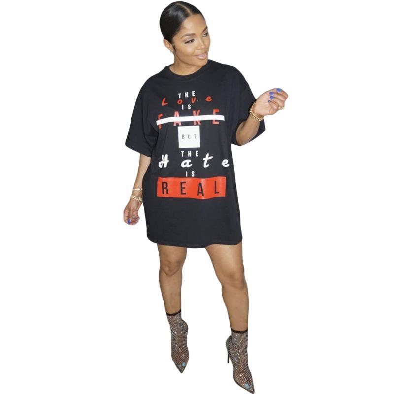 Fashion Letter Slogan Print Teeshirt Dress Short Summer Dresses for Women Clothes Casual Loose T Shirt
