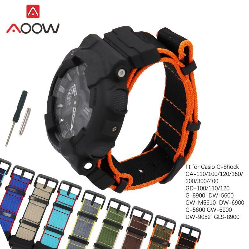 Conectores de la OTAN Negro correa de nylon para el G-GA-100 GA-GA-110 120 GD-110 -5600 banda de reloj de pulsera de hombres con GLS Herramientas