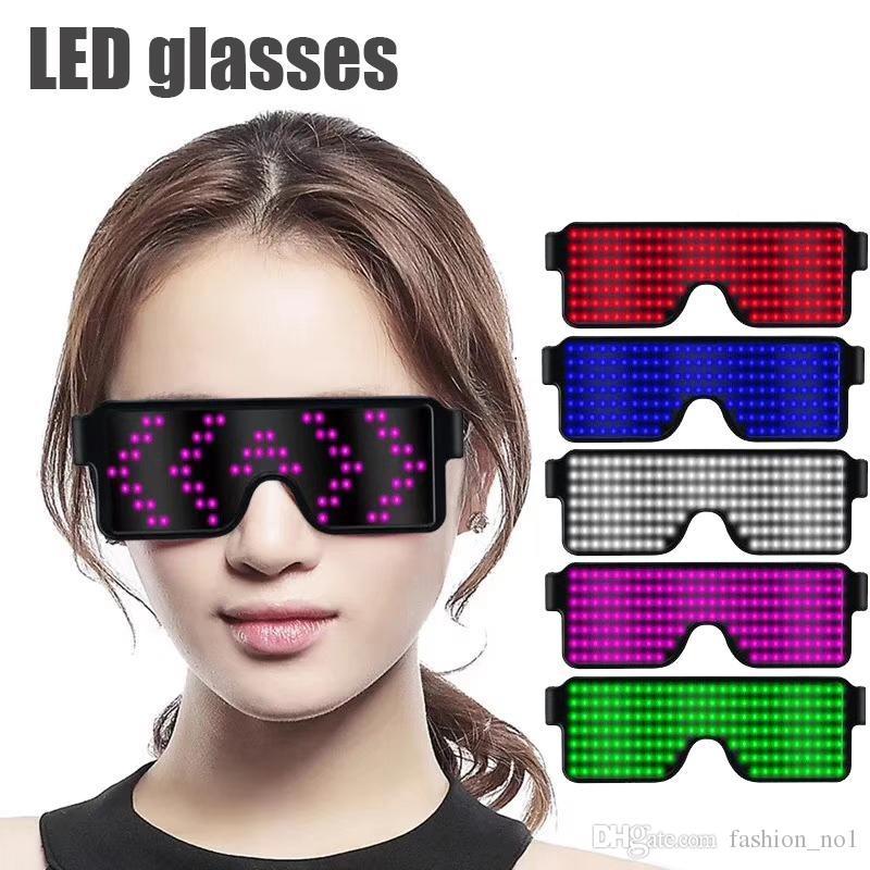 USB Led Parti Gözlük 8 Stil Hızlı Flaş Şarj Aydınlık Gözlük Glow Gözlükler Konser Işık Oyuncak Noel Partisi LJJ_TA1597 Favor