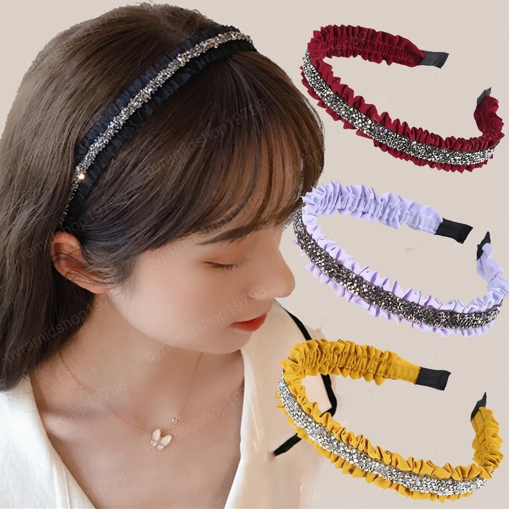 Plissado cor sólida Headband moldura Novo para Jóias Mulheres hairbands Meninas Acessórios Rhinestone Cabelo Hoop cabelo