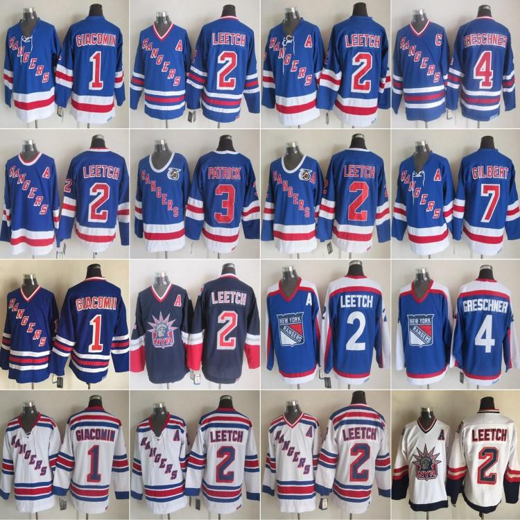 Vintage New York Rangers 2 Brian Leetch Hockey maglie 3 James Patrick 4 Ron Greschner 1 Eddie Giacomin 7 Rod Gilbert 75th Vintage CCM blu