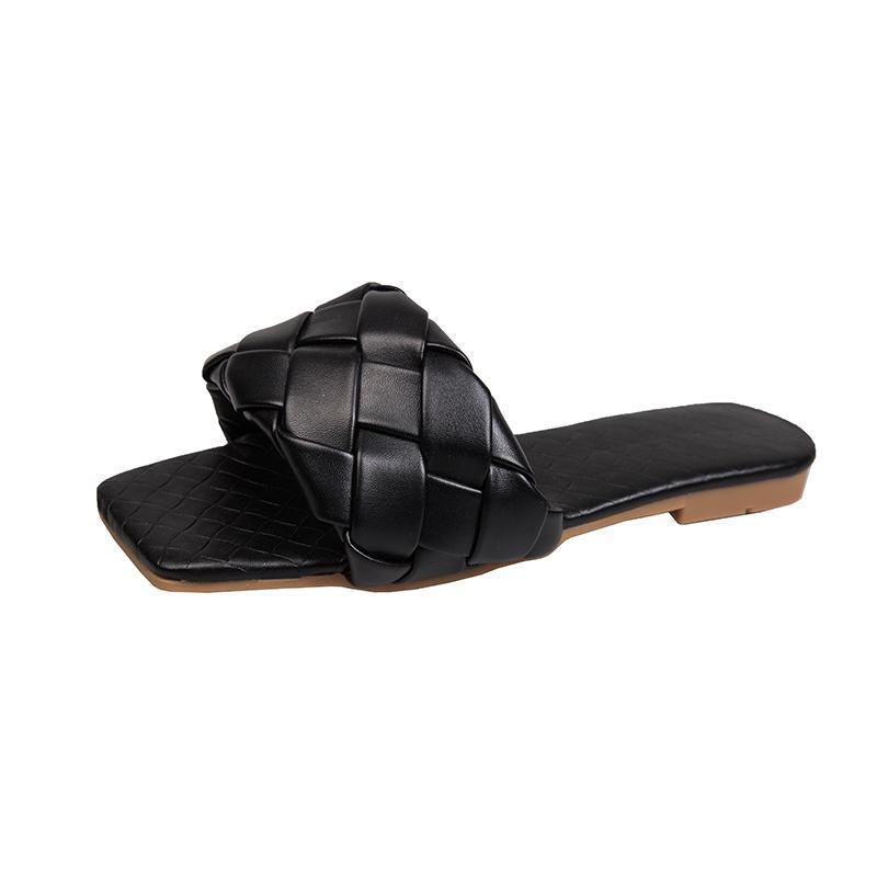 Bottega Veneta slippers  스퀘어 발가락 여름 슬리퍼 여성 짠 디자이너 플랫 슈즈 귀여운 슬리퍼 샌들 PU 가죽 숙녀 슬라이드