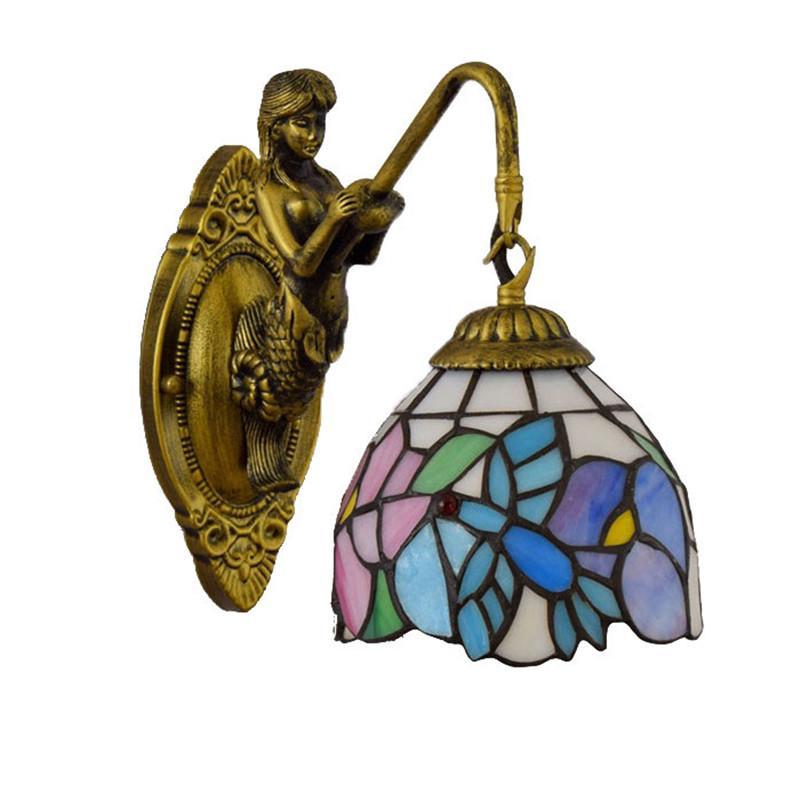 نمط تيفاني الملون جدار زجاجي مصابيح غرفة المعيشة مصباح غرفة نوم وبار النادي الممر شرفة جدار الرجعية الجدار الزجاجي جمال رئيس واحد أضواء TF072