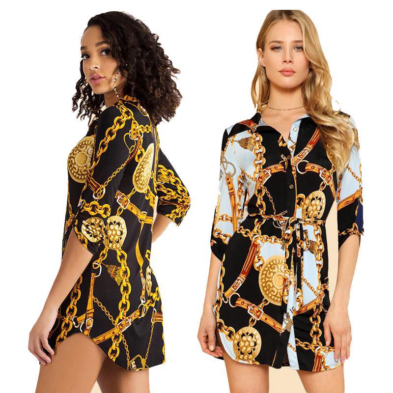 Mode mittelhülle Kette drucken Frauen Bluse Kleid und Tops Revers Lace-Up Button Sommerhemd Casual Tops Kurzes Kleid