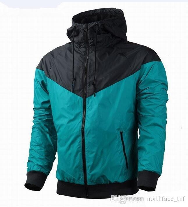 패션 새로운 파란색 긴 소매 남자 재킷 코트 가을 스포츠 지퍼 windchater 남자 의류 플러스 크기와 야외 windrunner