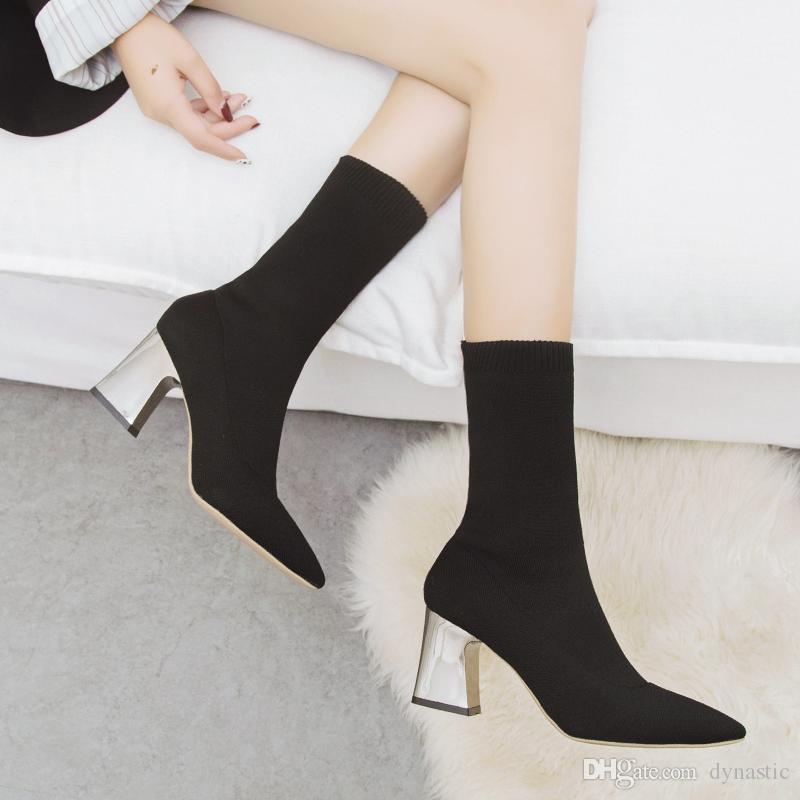 Frauen-Socken-Boot Herbst Elastic Stretch-Absatz Spitzschuh Pumps Stiefel Schuhe Weibliche Mode Mitte Kalb Schuhe