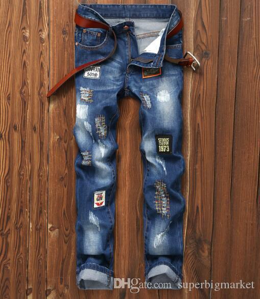 2019 nouvelle arrivée! Nouveau badge pour hommes en tissu patch patch Europe et les États-Unis commerce extérieur pantalons droits pour hommes ..