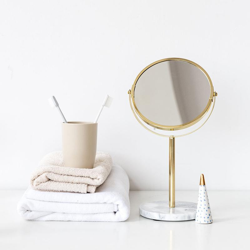 Modern Makeup Mirror Marble Table Top Cosmetic Round Mirror for Makeup Dressing Home Desk Espejos Decor CX200630