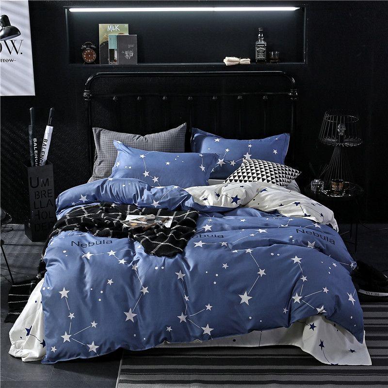 Blue star 3 / 4pcs set di biancheria da letto per ragazzi moda per bambini Copripiumino Lenzuola Federe doppia regina re Copripiumino copriletto