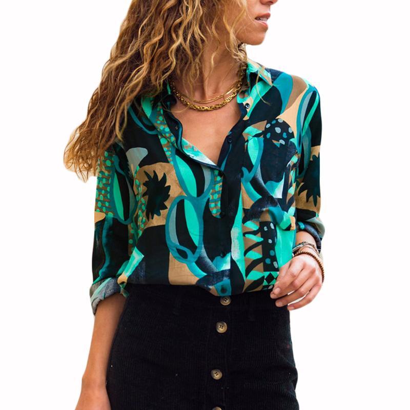 Women Chiffon Blouses Long Sleeve Turn Down Collar Office Shirt Geometric Print Blouse Loose Casual Tops Plus Size Chemise Femme