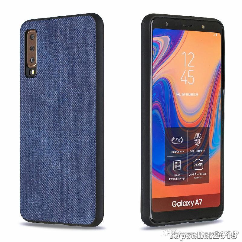 Pour SAMSUNG A7 2018 Plaster A750 Anti Shock Denim Texture TPU Téléphone cas couverture arrière Freeshipping de haute qualité en gros B119
