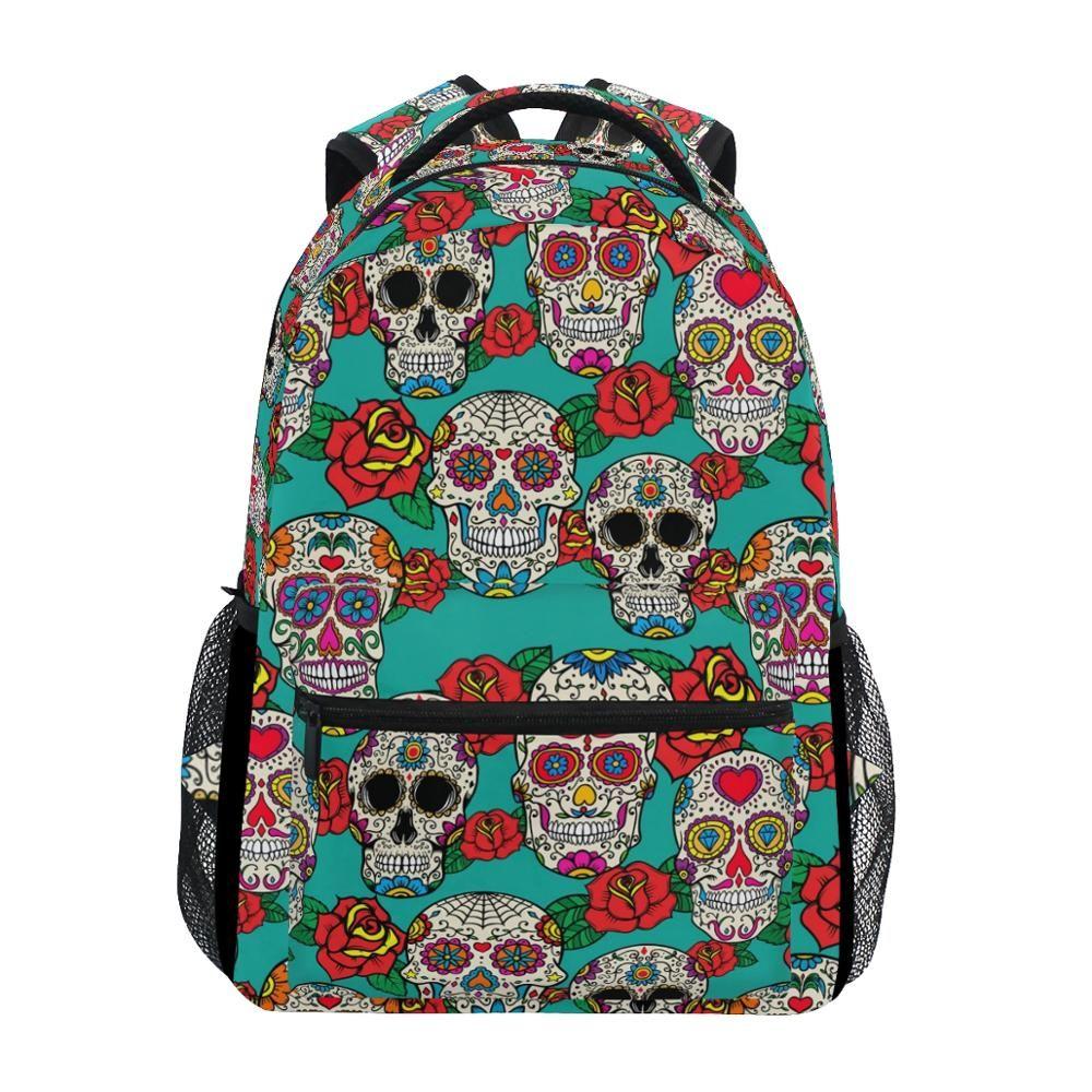 Leather Skull Light Greyt Backpack Daypack Bag Women