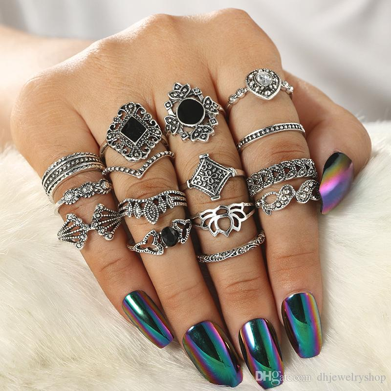 15pcs / набор Vintage Женщины Mid кольцо Bohemia цветок Корона Rhinestone Серебряный Joint Knuckle Nail кольцо комплект ювелирных изделий аксессуары Подарки