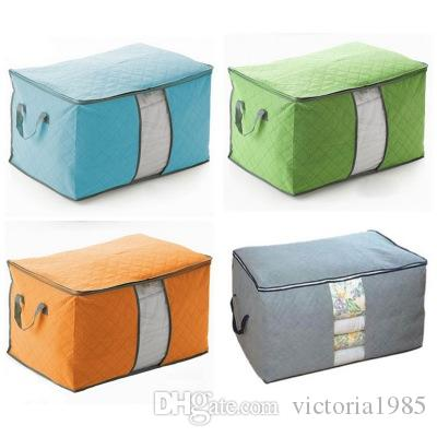 wholesale home Portable Large Casual Travel Bag Non-woven Clothes Luggage Storage Bags Anti-dust Storage Boxes Clothes Quilt Laundry Pillows