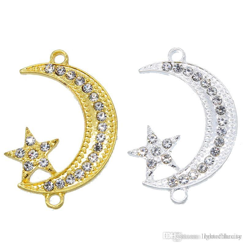 50pcs Supplies For Jewelry Silver Muslim Crescent Moon Charm Connector Accessories For Islamic Jewelry DIY Making wholesale