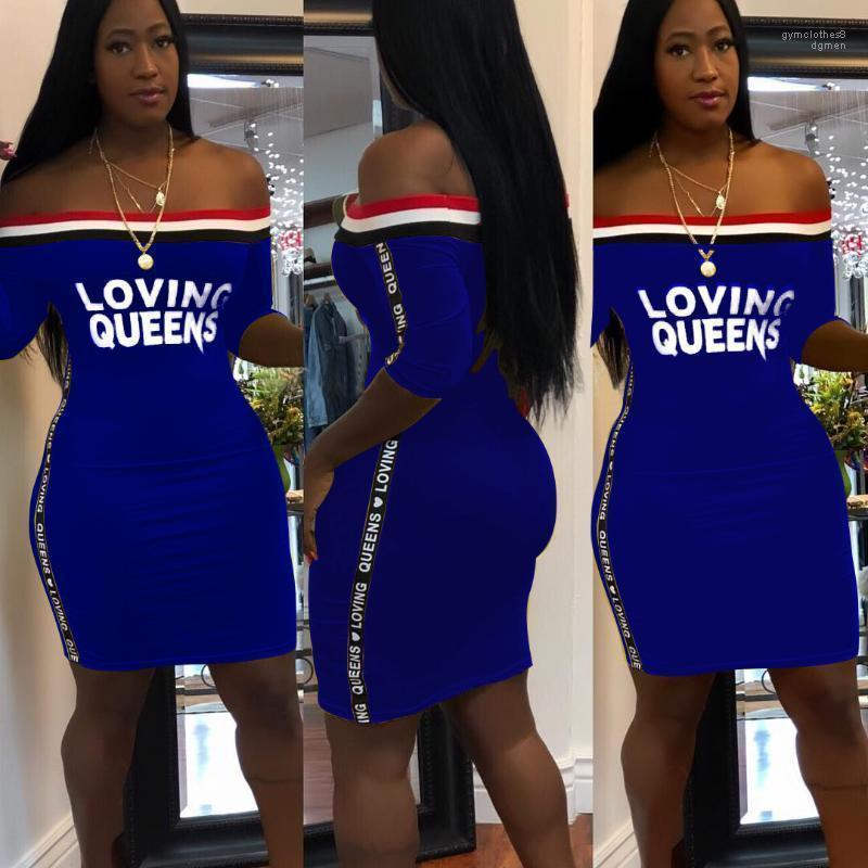 Robe d'été Slash Lettres cou Vêtements Robes affectueuses Queens femmes Bodycon