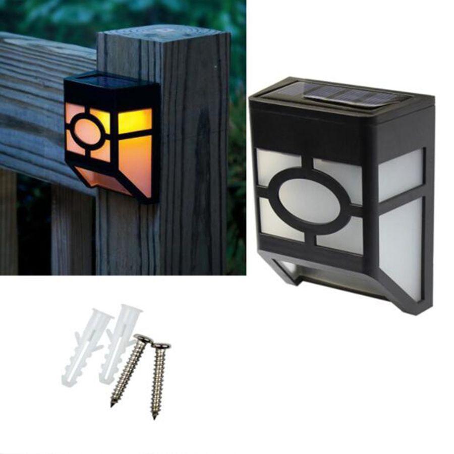 2pcs Solar Wall Mount LED Light Outdoor Garden Path Landscape Fence Yard Lamp T