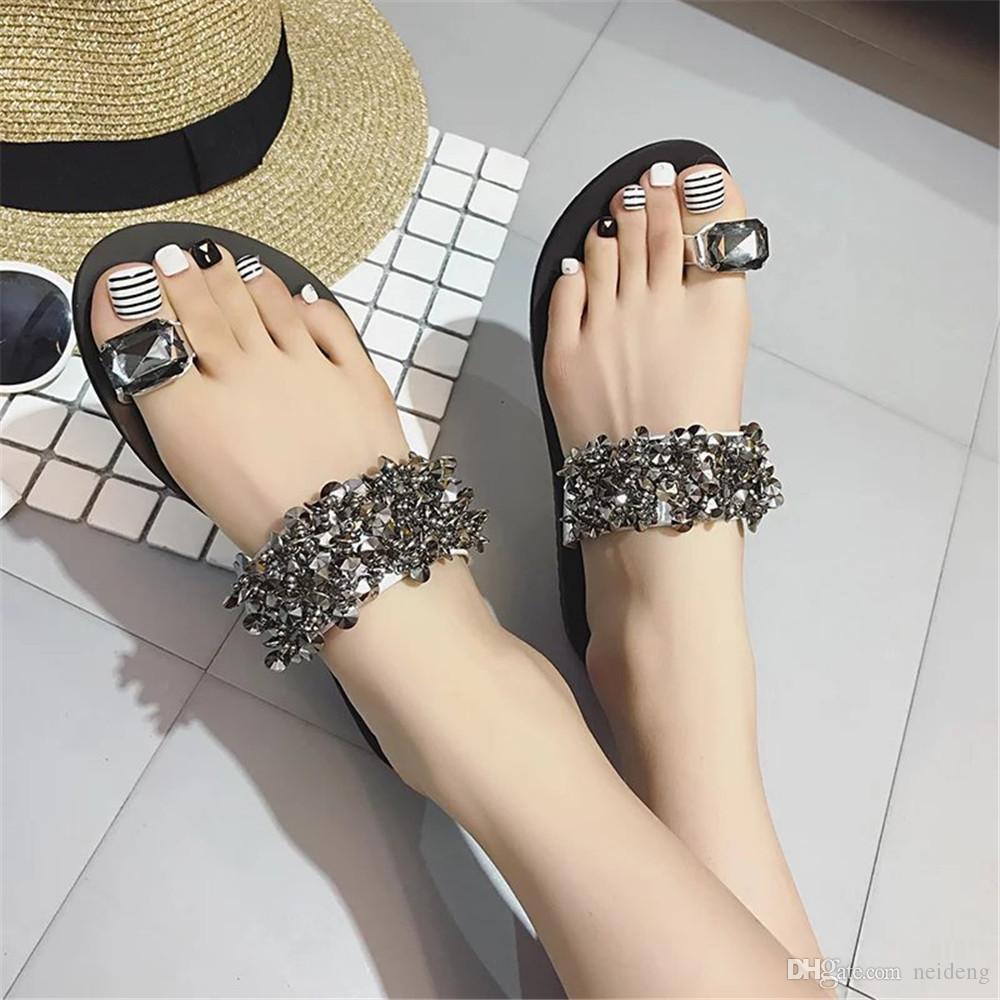 Venta caliente-sandalias de mujer chanclas nueva moda de verano cuñas de diamantes de imitación zapatos de cristal de señora zapatos casuales tamaño 35-39 mujeres
