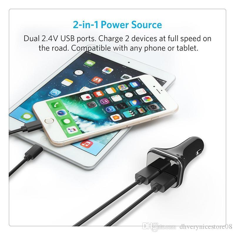 4.8A Çift USB Bağlantı Noktası Araç Monte Cep Telefonu Şarj Adaptörü LED Ekran Gerilim Monitör Araç Şarj Ücretsiz Kargo