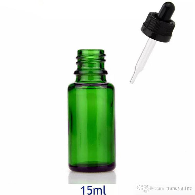 15ml Amber Clear Green Blue Glass Bottles 15 ml Dropper Essential Oil Container with Dropper Childproof Lids 624Pcs Lot