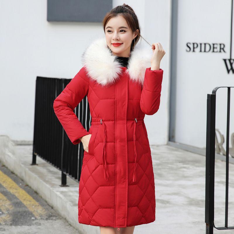 Новое прибытие 2019 женщин зимняя куртка белый меховой воротник с капюшоном тонкий дамы пальто длинный мягкий женский куртка Mujer Invierno