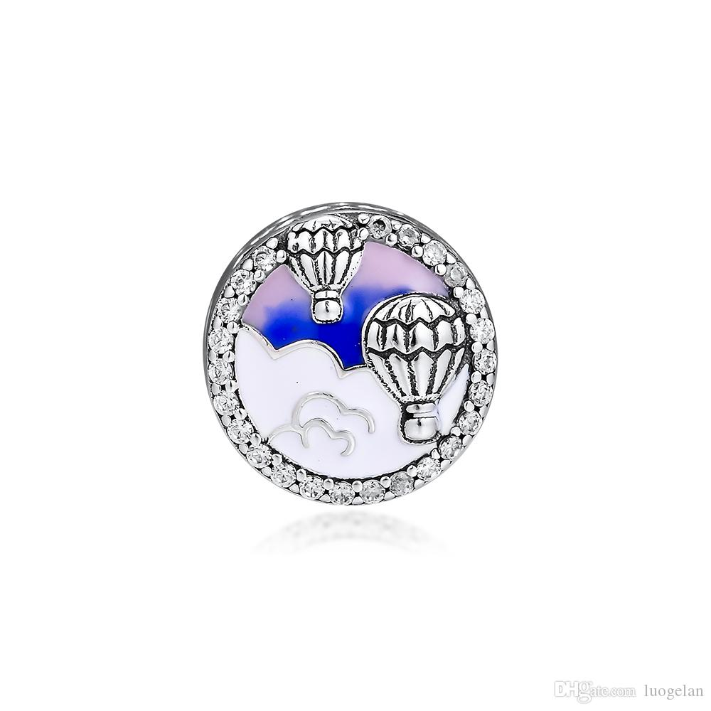 2019 Original 925 Sterling Silver Jewelry hot air balloon travel Charm Beads Fits European Pandora Bracelets Necklace for Women Making