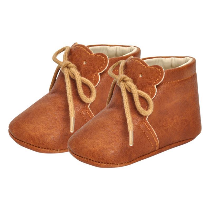 Oso de dibujos animados bebé niños zapatos suaves adoquines BAÑOS BAÑOS PU Cuero de cuero Lace-up The First Walker Walkers