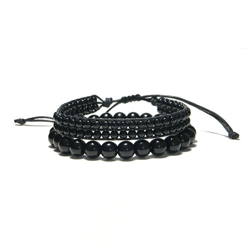 Art und Weise handgemachte Obsidian Armband-Satz-Charme Schwarz Naturstein Perlen Braclets Sets für Männer Armband Schmuck Homme Bileklik