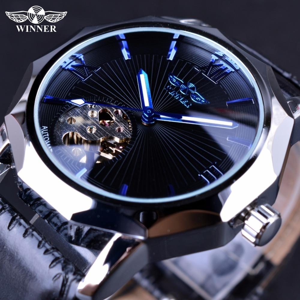 Vencedor Blue Ocean Geometria Design Dial Skeleton Transparente Mens Watch Top Marca de Luxo Automático Relógio Mecânico Relógio de Moda C19011501