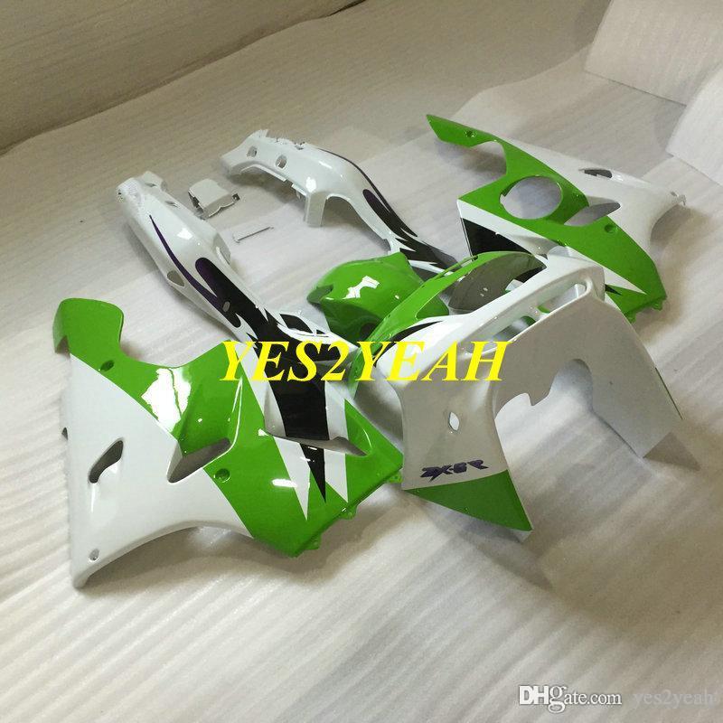 KAWASAKI 닌자 ZX6R 오토바이 페어링 바디 키트 636 94 95 96 97 ZX 6R 1994 1997 그린 화이트 페어링 차체 + 선물 KS12