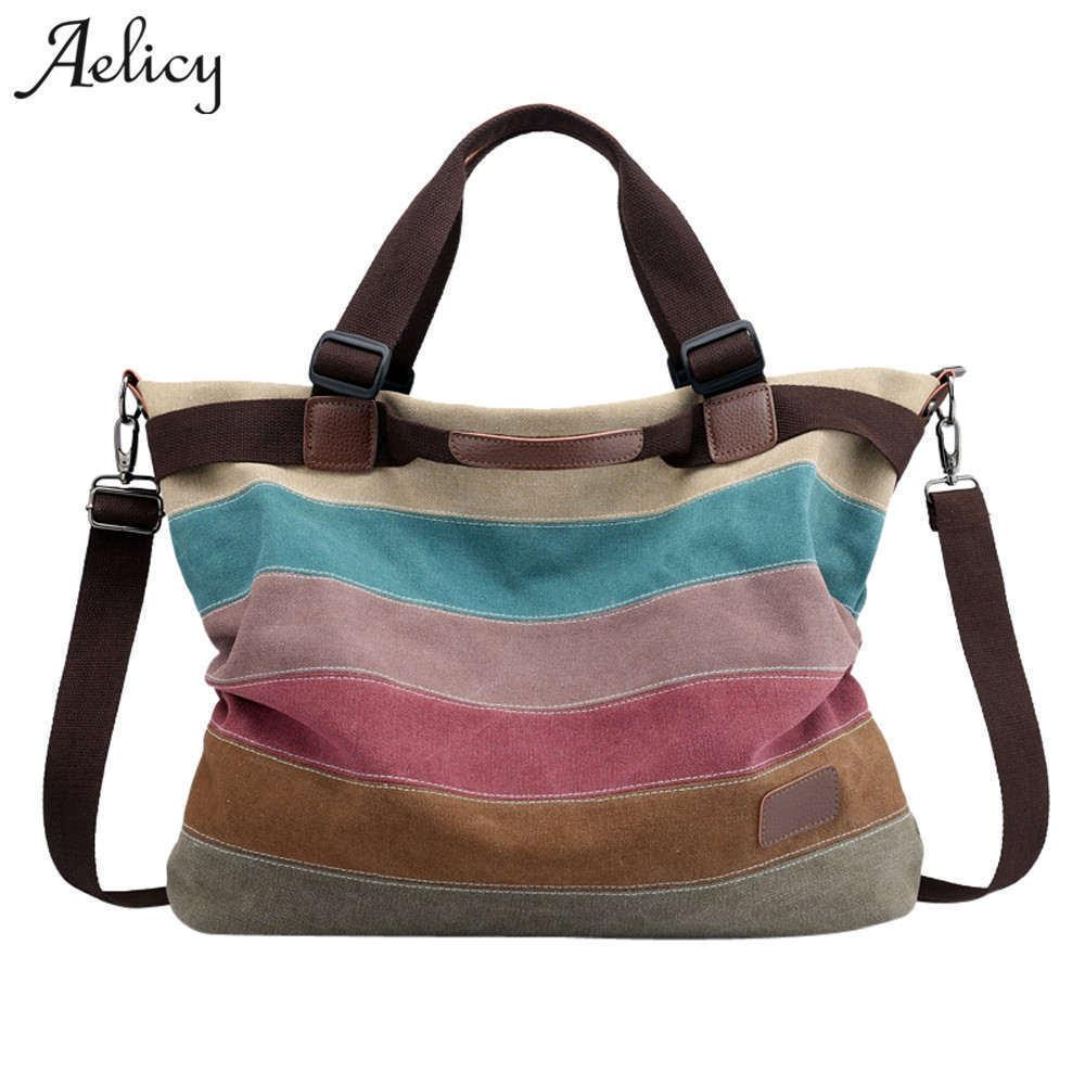 Aelicy Moda Mujeres Lienzo Bolso Famoso Diseñador Messenger Bags Ladies Rayas Mujeres Bolsos Gran Capacidad Bolsos Crossbody J190712