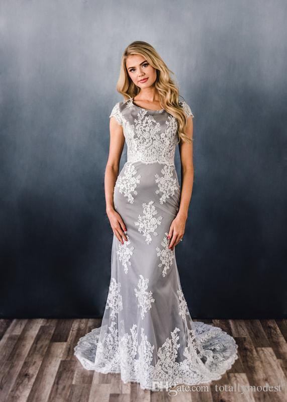 bda117174168 2019 New Grey Lace Mermaid Long Modest Prom Dress With Cap Sleeves Corset  Back Women Formal ...